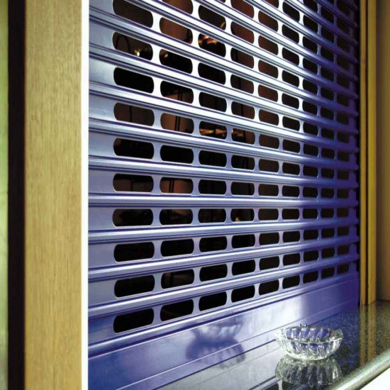 Compact Punched Bar Servery Shutter - 44% Vision